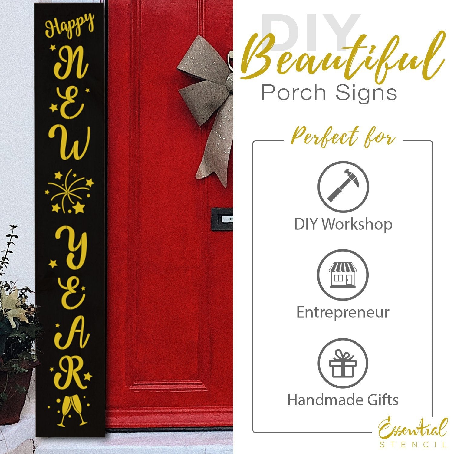 DIY reusable 5ft Vertical porch stencil, Vertical Happy New Year stencil, Happy New Year porch leaner stencil