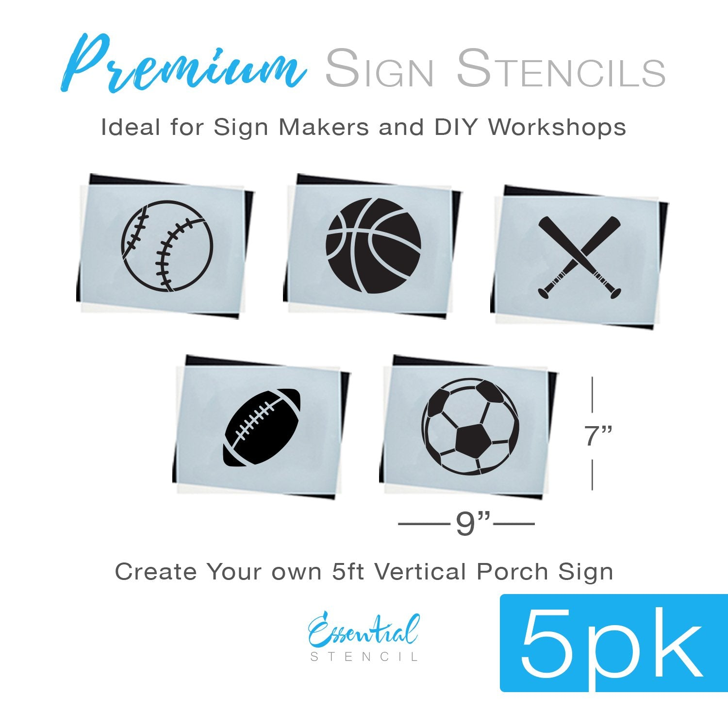 Basketball, Football, Baseball, Soccer, Sports icon reusable stencils