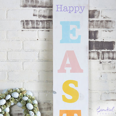Reusable Vertical Happy Easter porch sign stencil for painting on wood | DIY Easter and spring Home Decor