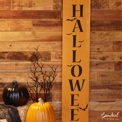 Vertical Happy Halloween Sign Stencil for painting wood porch signs