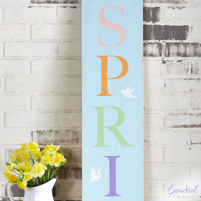 Reusable Vertical Hello Spring front porch leaner sign stencil for painting on wood | DIY Spring Home Decor
