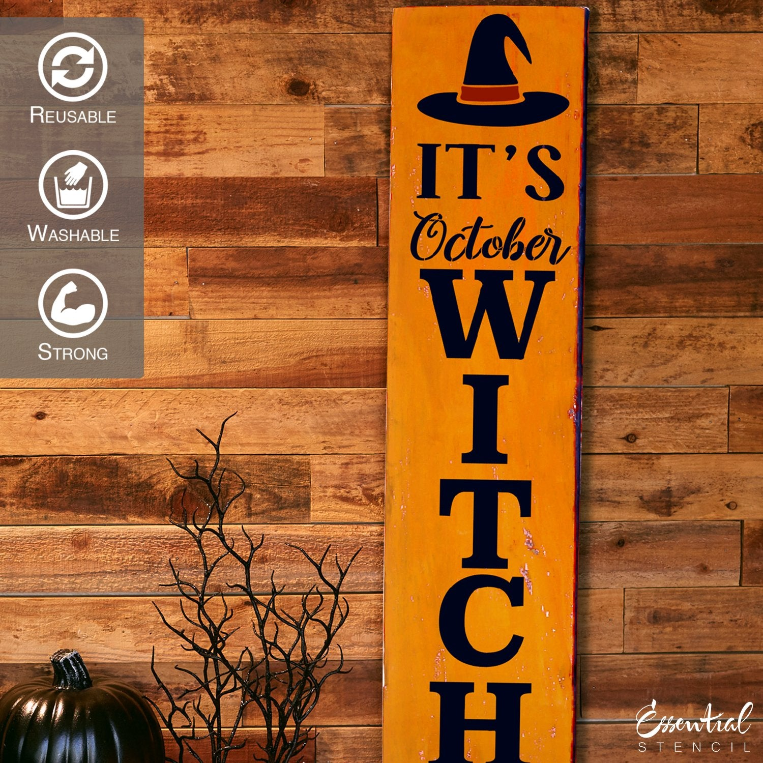 Reusable Vertical It's October Witches Stencil | DIY Halloween Sign, DIY Farmhouse Vertical Front Porch Leaner Signs