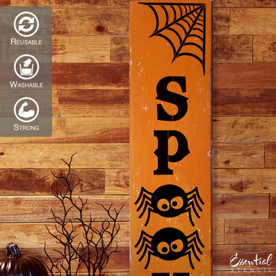 Vertical SPOOKY Halloween reusable stencil for diy porch sign