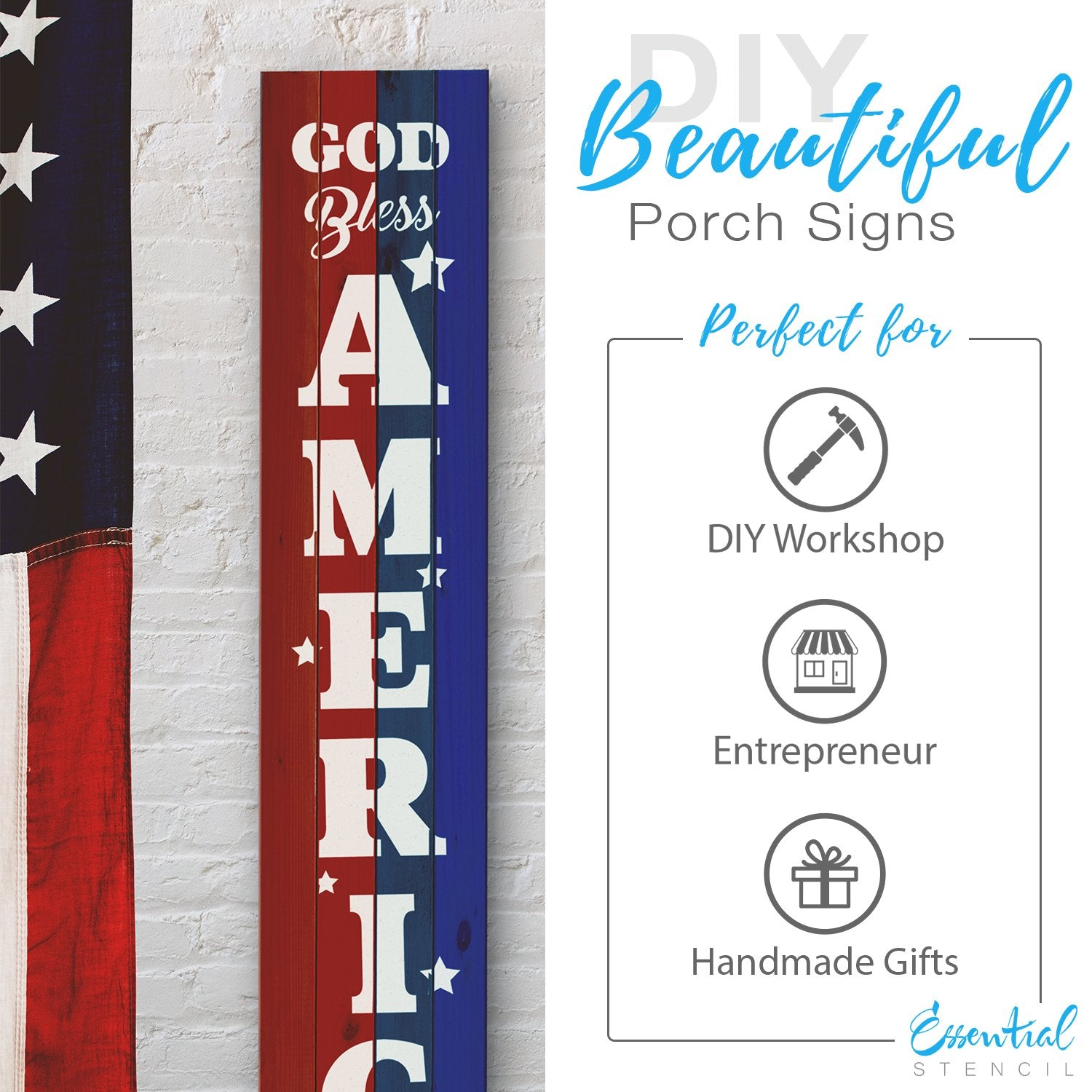 Reusable Vertical God Bless America | Patriotic Sign Stencil, 5ft Vertical Patriotic front porch leaner sign | Independence Day Sign
