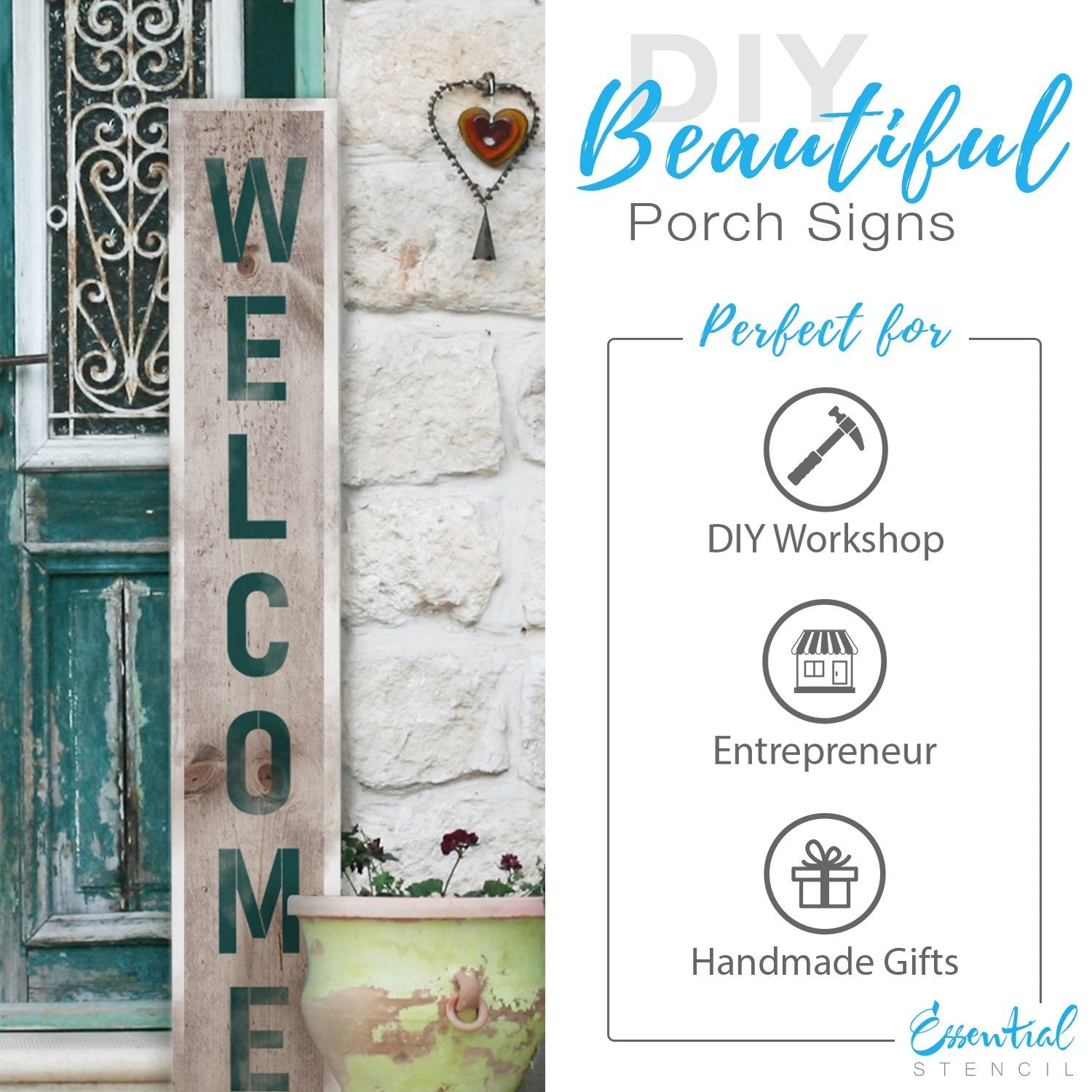 Alphabet reusable Stencils 5 inch Letters, diy farmhouse porch signs, Welcome front porch leaner sign