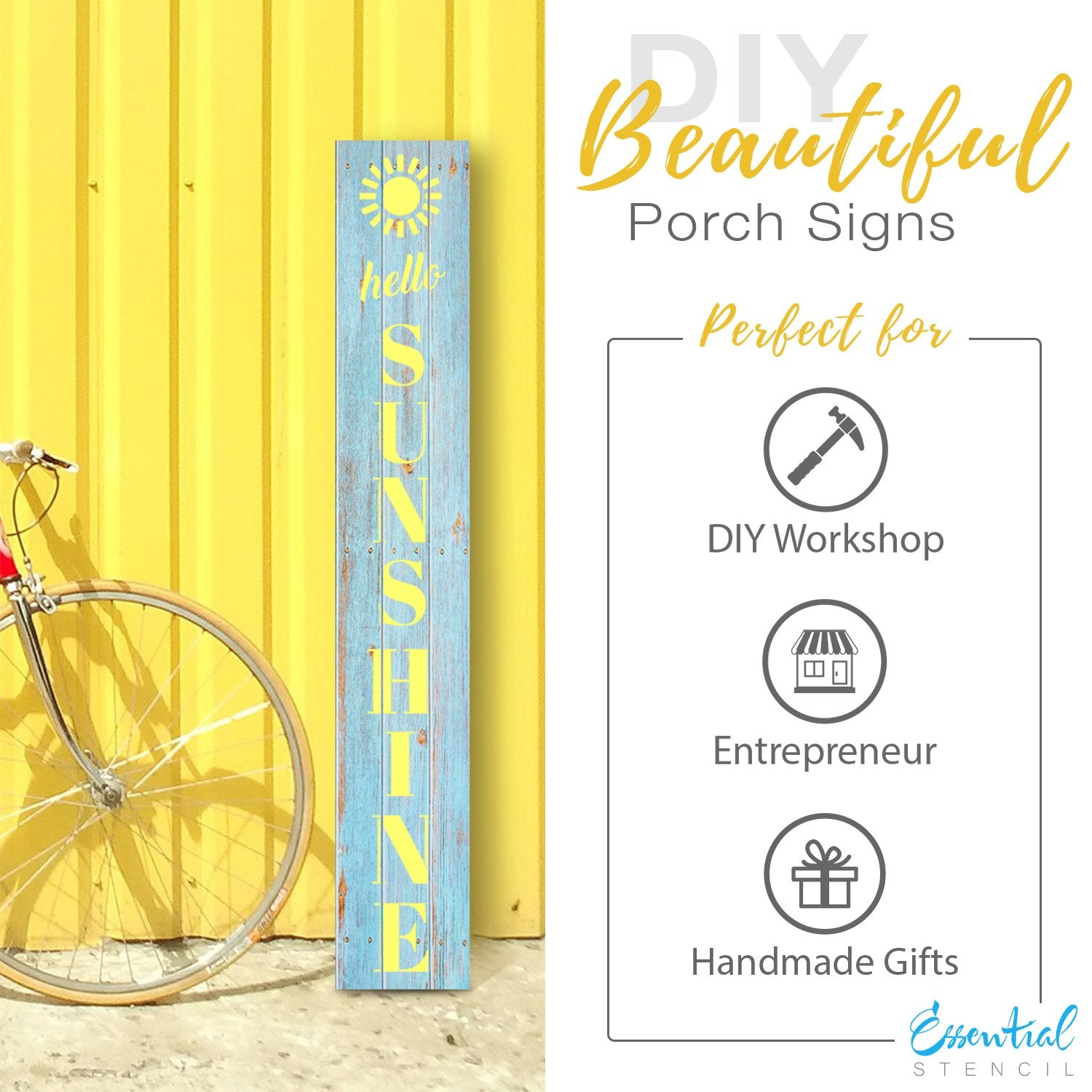 Reusable Vertical Hello Sunshine Stencil | DIY Summer front Porch leaner Sign