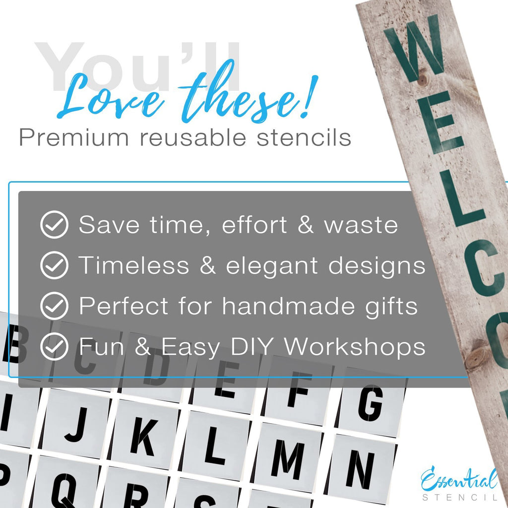 Alphabet reusable Stencils 5 inch Letters, diy farmhouse front porch leaner signs