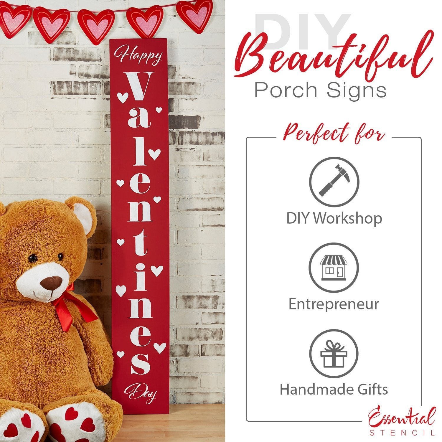 Reusable Vertical Happy Valentine's Day Front Porch Leaner Sign Stencil | DIY Valentines day decor