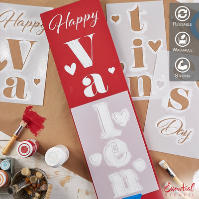 Reusable Vertical Happy Valentine's Day Porch Sign Stencil | DIY Valentines day decor