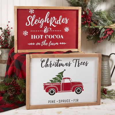 Reusable Christmas Sign Stencils for painting wood signs | DIY Farmhouse Christmas Decor | Vintage Christmas Tree Truck Stencil & Sleigh Rides and Hot Cocoa on the Farm Stencil