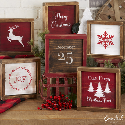 Reusable Christmas sign stencils for painting on wood | DIY Farmhouse Christmas Decor | Merry Christmas, Farm Fresh Christmas Trees, Joy stencils