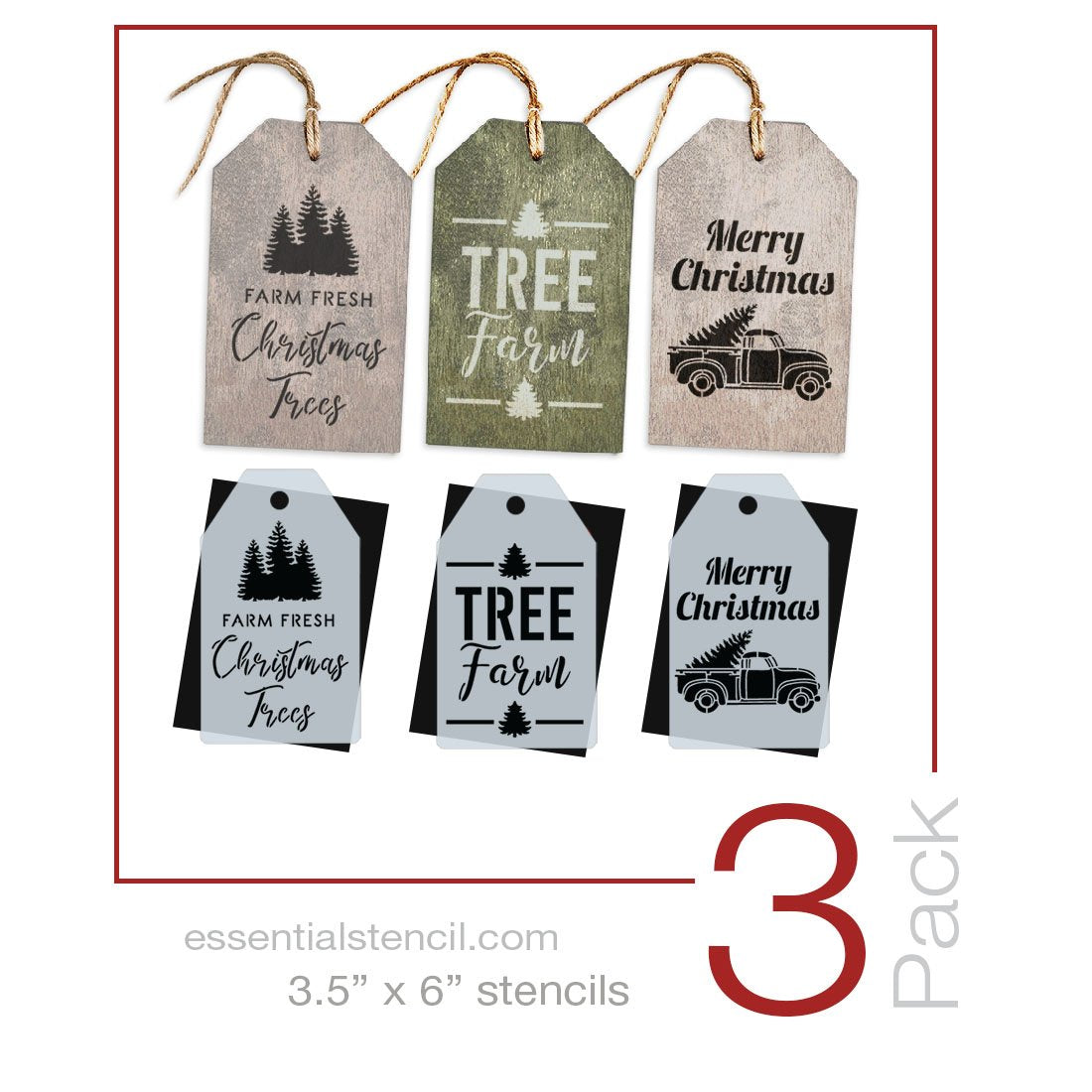 Tree Farm Mini Tag Stencil Set (3 Pack)