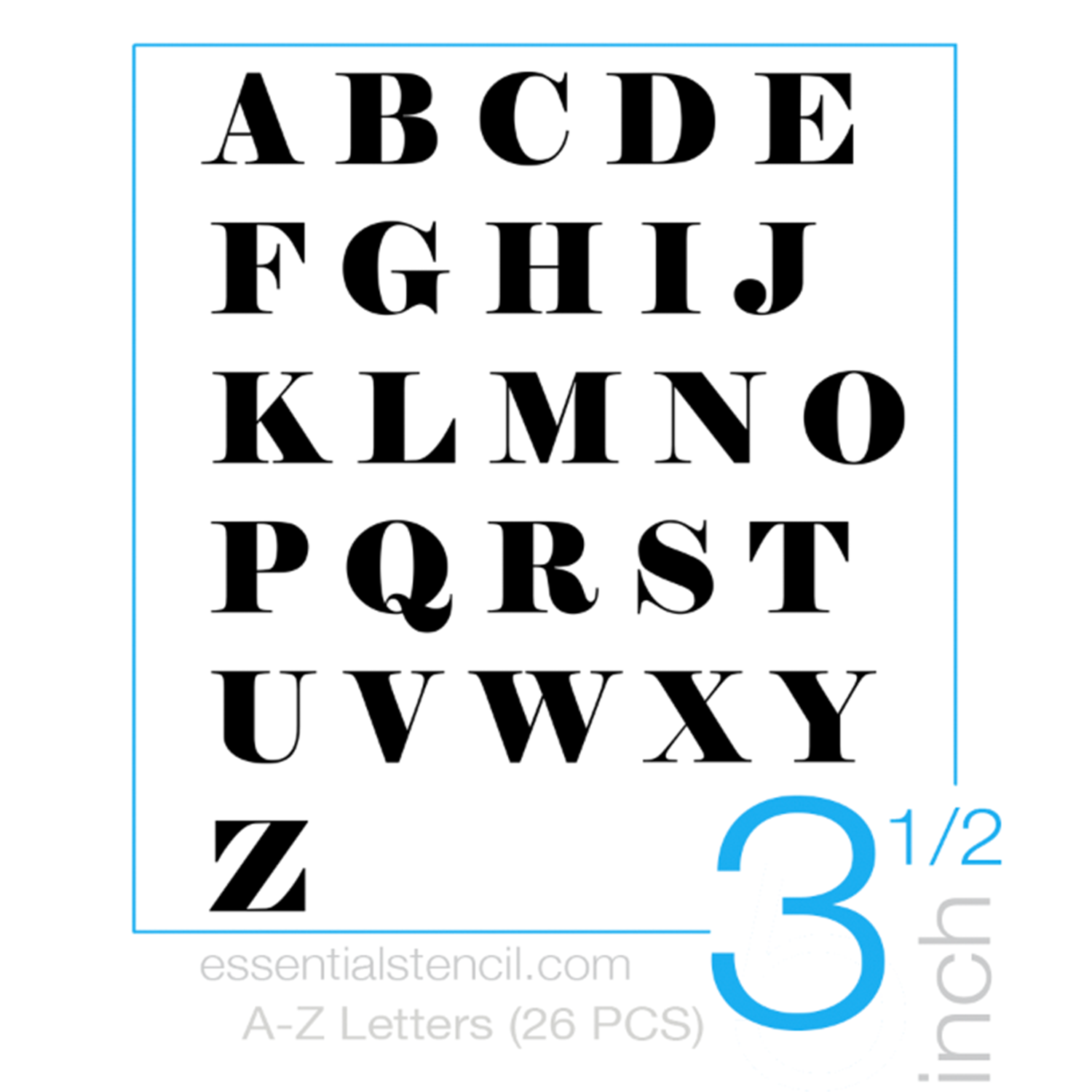 "Reusable A-Z 3 -4"" alphabet letter stencils for painting on wood signs 