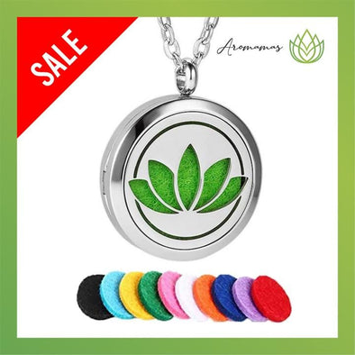 AroMamas Lotus Signatured Design Aromatherapy Necklace (with FREE Lava Stone Bracelet)