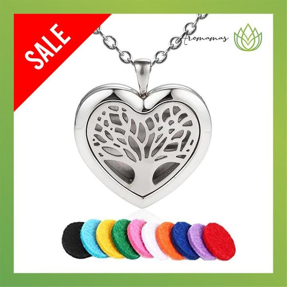 Heart Shaped Tree of Life Aromatherapy Necklace