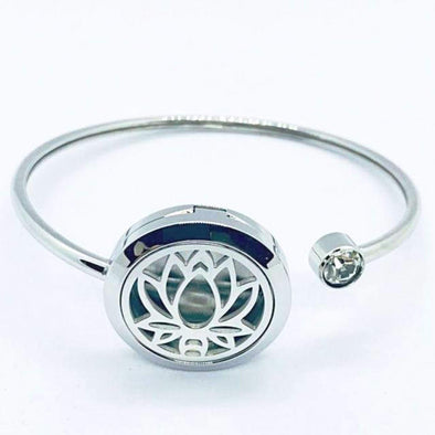 Lotus Aromatherapy Bracelet (Stainless Steel Bangle) With Rhinestone