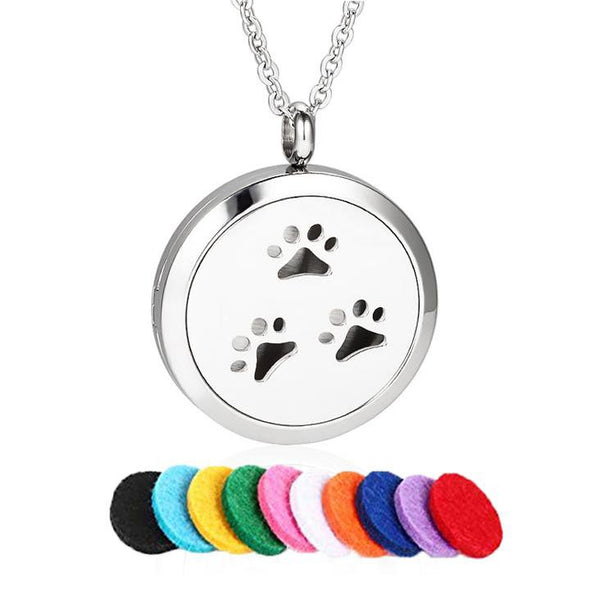 Paw Print Aromatherapy Necklace