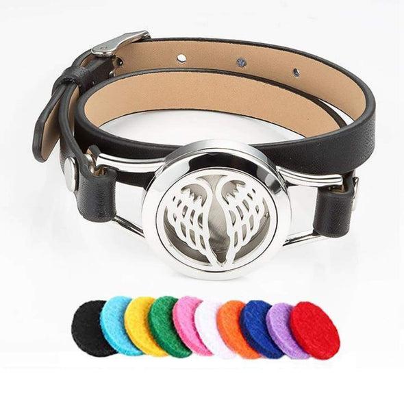 Pu Leather Angel Wings Aromatherapy Bracelet