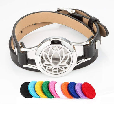 Pu Leather Lotus Aromatherapy Bracelet