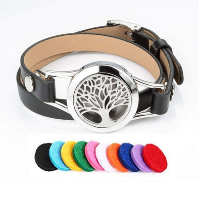 Pu Leather Tree Of Life Aromatherapy Bracelet