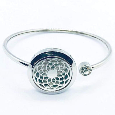 Sunflower Aromatherapy Bracelet (Stainless Steel Bangle) With Rhinestone