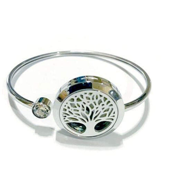 Tree Of Life Aromatherapy Bracelet (Stainless Steel Bangle) With Rhinestone