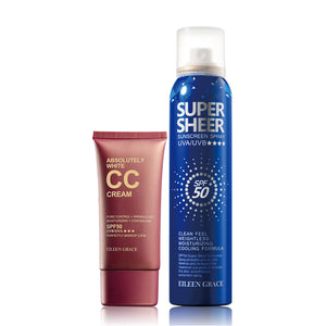 SET0020 - SPF 50+ Sunscreen Cooling Spray 180ml + Absolutely White Moisturizer CC Cream 50ml