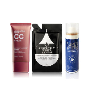 SET0031 - Absolutely White Oil Control CC Cream 50ml + Black Jelly Mask 35ml + Sunscreen Cooling Spray 50ml