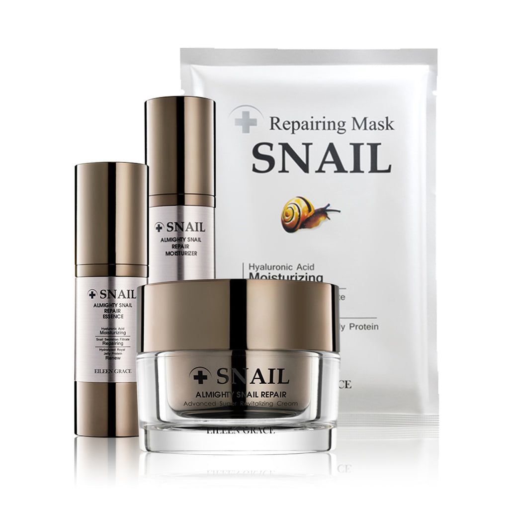 SET0005 - Snai Moisturizer 50ml +  Snail Mask 30ml +  Snail  Essence 30ml +  Snail  Cream 50ml (FREE Cleanser & Toner 10ml)