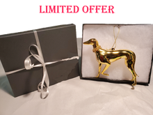 3 Gold Greyhound Ornaments