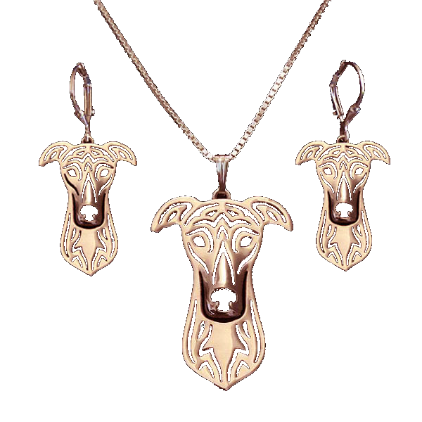 Rose Gold Greyhound Necklace and Earrings Set