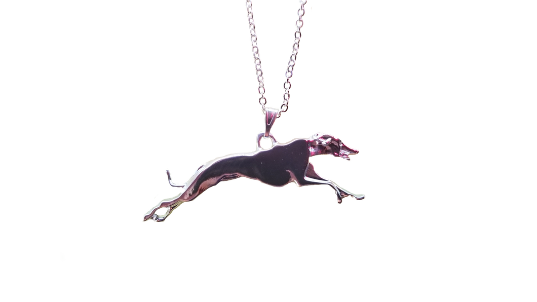 Racing Hound Silver Plated Necklace