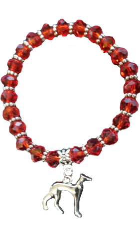 Hand Crafted Hound Red Charm Bracelet