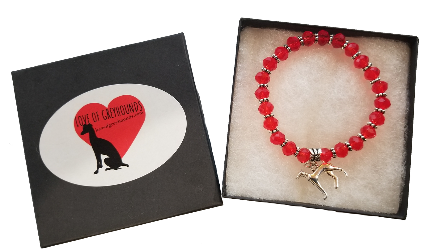 Hand Crafted Greyhound Silver Charm Bracelet- Red