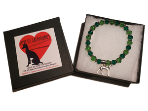 Hand Crafted Greyhound Silver Charm Bracelet- Green