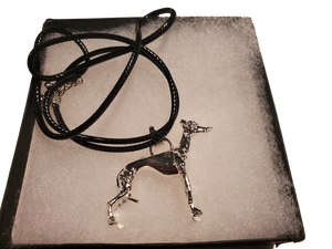 Posing Greyhound Pendant Necklace