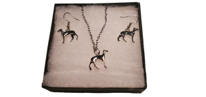 Silver Greyhound Necklace and Earrings Set