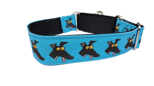 DERP BLUE- Richard Skipworth Martingale Collar by Love OF Greyhounds