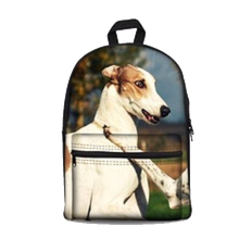 Red and White Greyhound Backpack