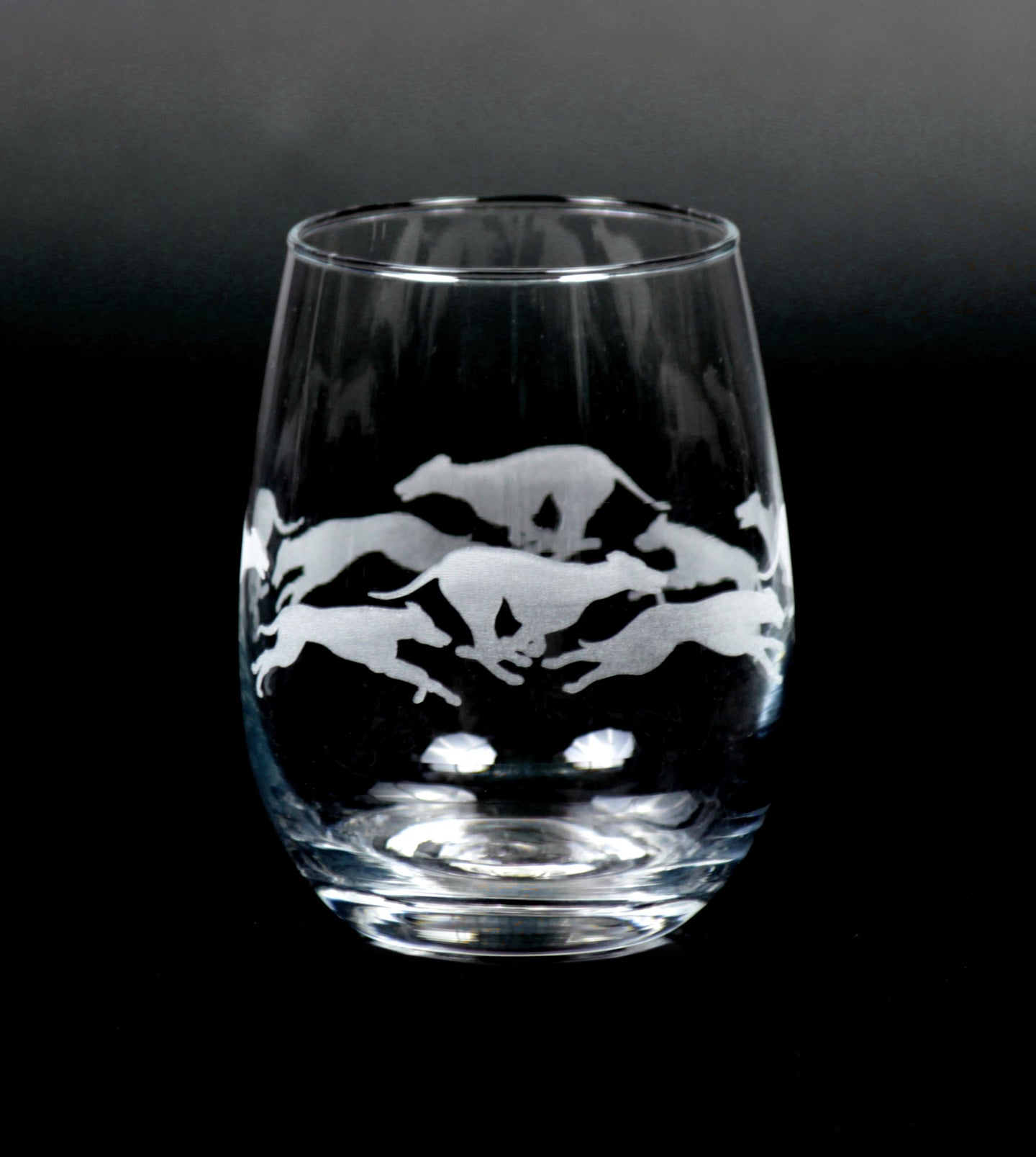 Set of 2 or 4 - Stemless Running Greyhound Wine Glasses