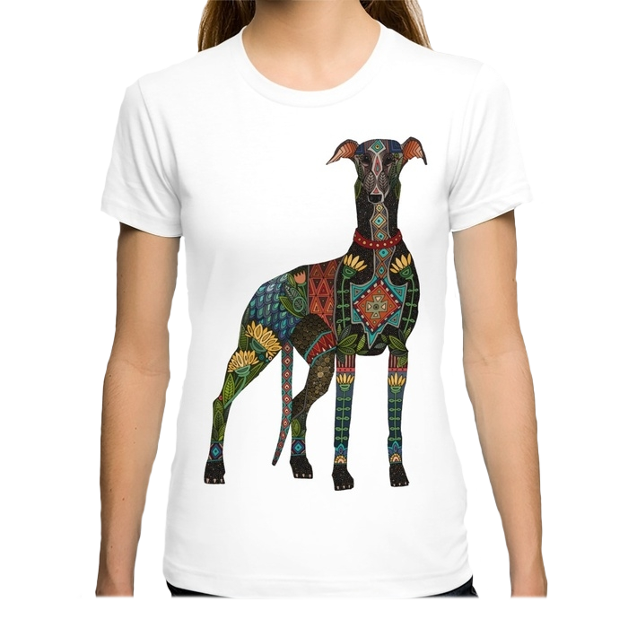 Colorful Greyhound T-Shirt in White