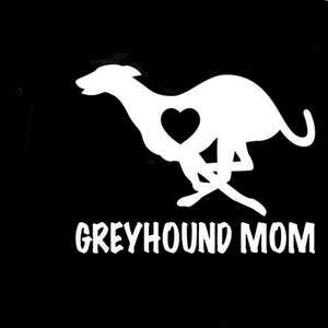 White Greyhound Mom Decal