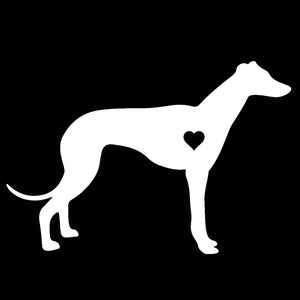 White Greyhound Decal With Heart