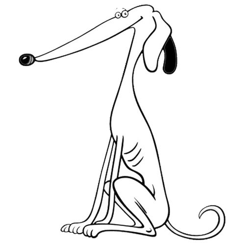 White Cartoon Greyhound Decal