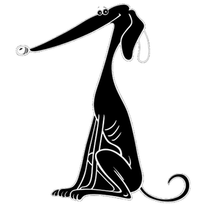 Black Cartoon Greyhound Decal