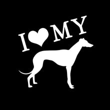 I Love My Greyhound Decal in White