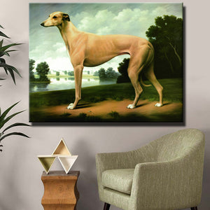 Greyhound By Lake Printed On Canvas
