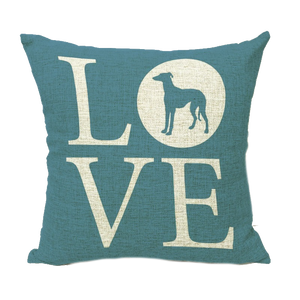 """LOVE"" Greyhound 17 INCH Throw Pillow Cover"