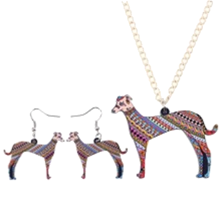 Stylish Greyhound Necklace and Earrings Set