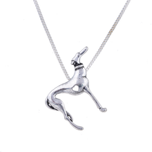 Silver Heart Greyhound Pendant Necklace